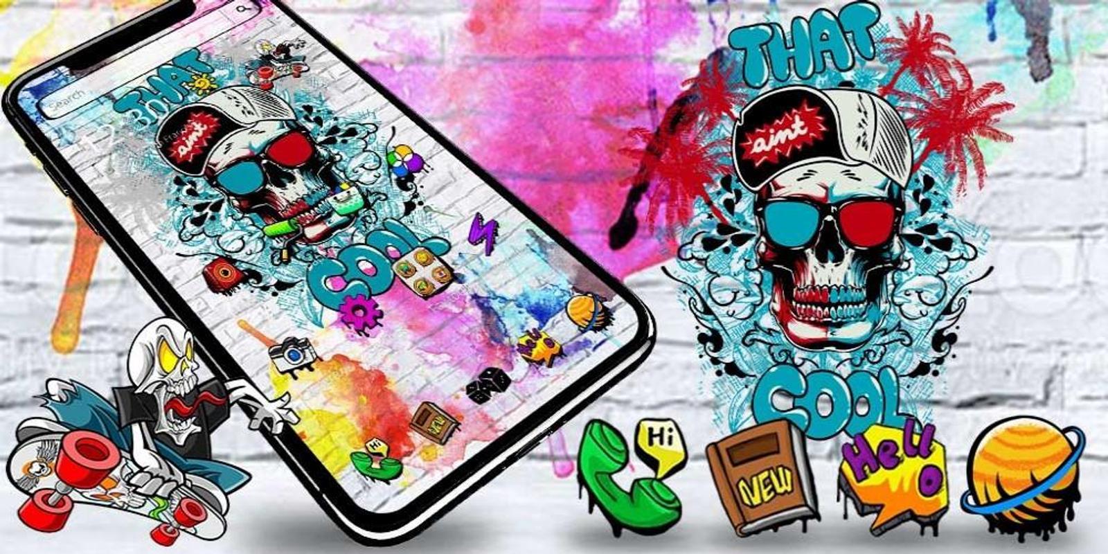 Cool skull graffiti theme screenshot 3
