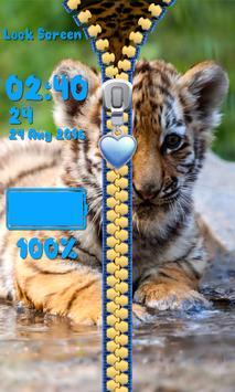 Zipper Lock Screen – Tigers apk screenshot