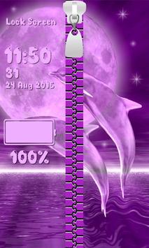 Zipper Lock Screen – Dolphins apk screenshot