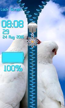 Zipper Lock Screen – Doves apk screenshot