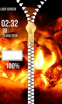 Zipper Lock Screen – Fire screenshot 13