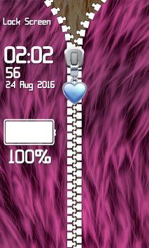 Zipper Lock Screen – Fur screenshot 4