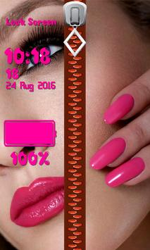 Zipper Lock Screen – Makeup screenshot 12