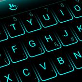 شكل لوحة المفاتيح أزرق نيون أيقونة