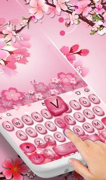 Pink Cherry Flowers Water Drops Keyboard Theme poster