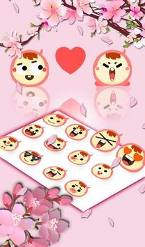 Pink Cherry Flowers Water Drops Keyboard Theme apk screenshot