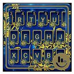 Golden Blue Flower Keyboard Theme APK