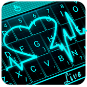 Live 3D Neon Blue Love Heart Keyboard Theme 圖標