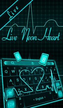Live 3D Neon Blue Love Heart Keyboard Theme 海報