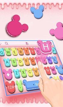 Cute Macaroon Colorful Micky Emoji Keyboard Theme 海报