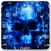 Neon Blue Hell Skull Flame Keyboard Theme icon