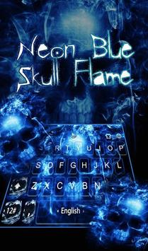 Neon Blue Hell Skull Flame Keyboard Theme poster