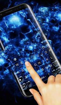Neon Blue Hell Skull Flame Keyboard Theme screenshot 1