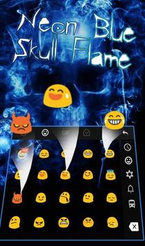 Neon Blue Hell Skull Flame Keyboard Theme screenshot 2