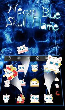 Neon Blue Hell Skull Flame Keyboard Theme screenshot 3