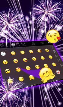 Live 3D New Year Purple Fireworks Keyboard Theme apk screenshot