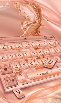 Silk Rose Gold Butterfly Keyboard Theme 截圖 2