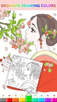 Cute Girl Coloring Pages: Anxiety Relief Therapy screenshot 1