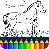 Horse coloring game icon