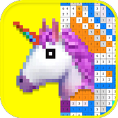 Sandbox Coloring By Number Unicorn Color Draw Book icon