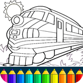 Train drawing game for kids and adults. icon