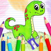 dinosaur coloring and drawing book icon