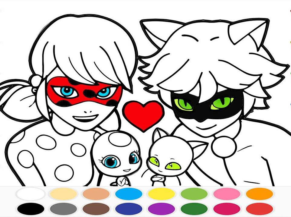 Libro De Colorear Miraculous Ladybug And Cat Noir For Android Apk