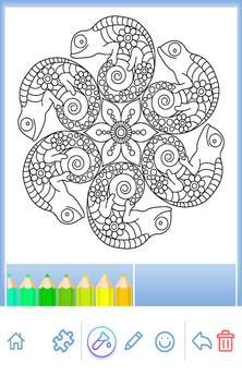 Animal coloring mandala pages poster