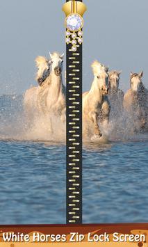 White Horses Zip Lock Screen poster