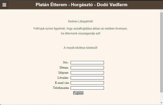 Platán Étterem Dunaremete apk screenshot