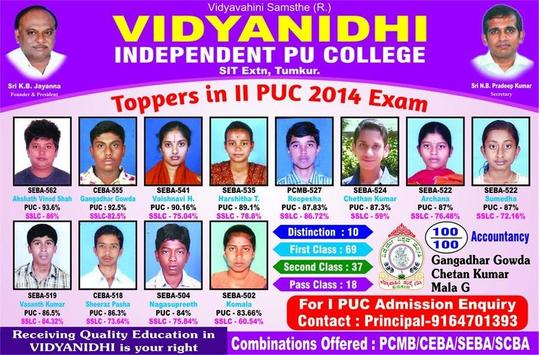 Vidyanidhi PU College Tumkur poster