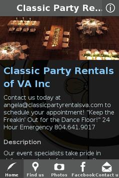 Classic Party Rentals of VA apk screenshot