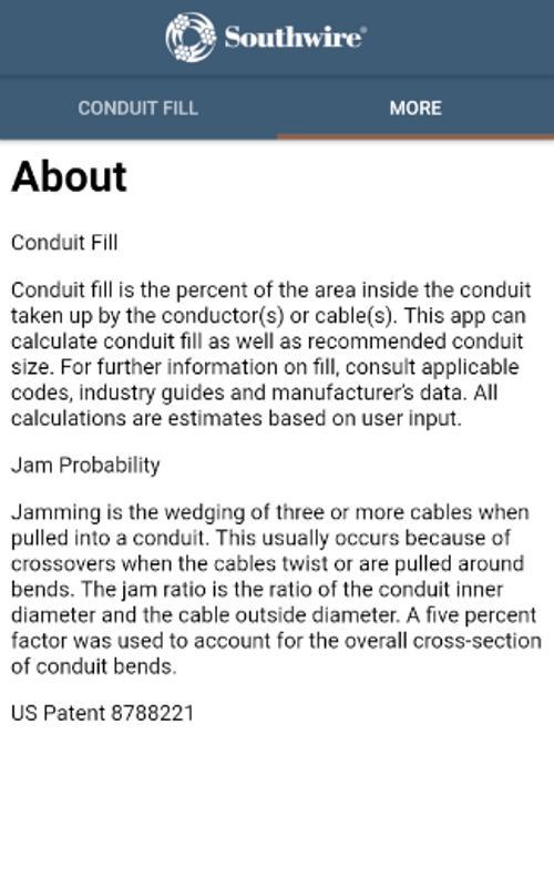 Southwire Conduit Fill Calc स क र नश ट 2