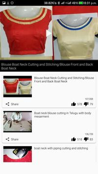 How to Learn Blouse Cutting Stitching Design VIDEO apk screenshot