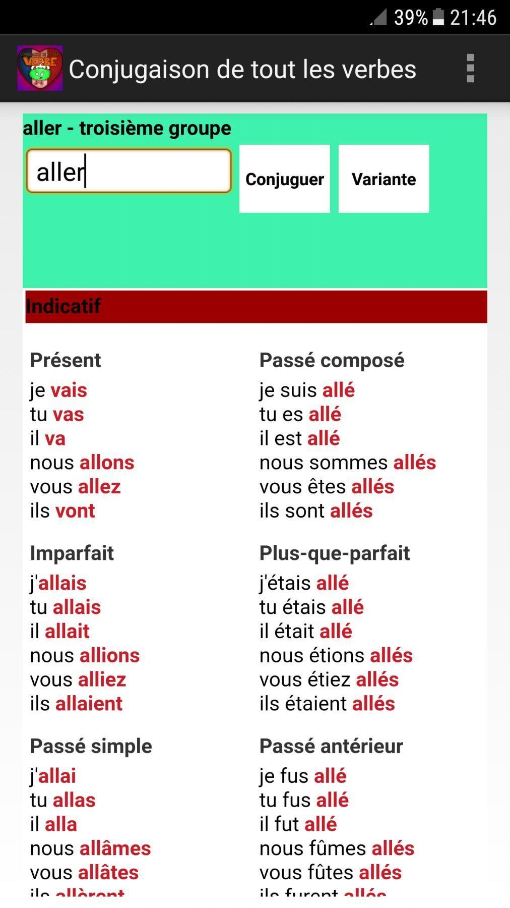 Conjugaison De Tout Les Verbes For Android Apk Download