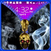 Smoke lock screen. Zipper icon