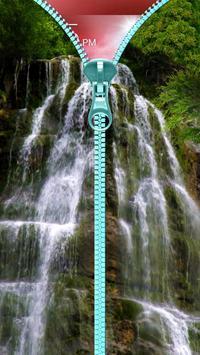 Waterfall lock screen. Zipper. poster