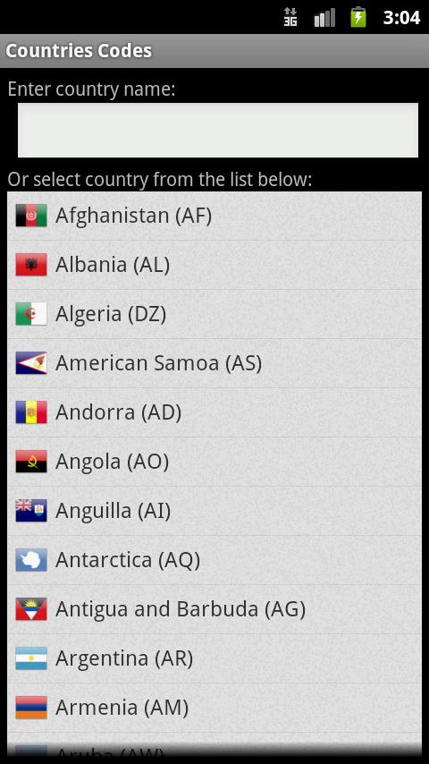 Country Codes for Android - APK Download