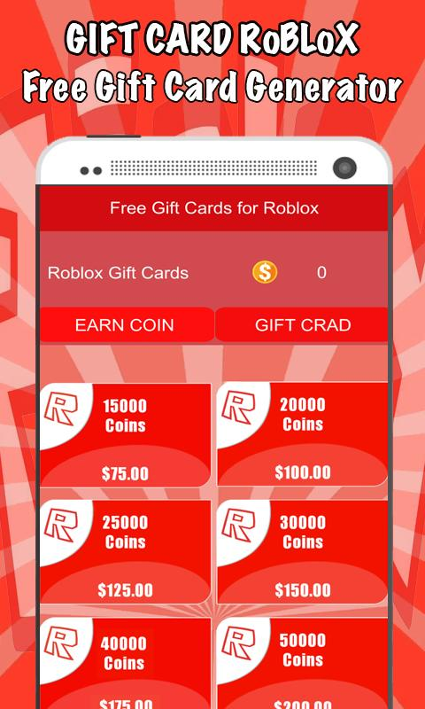 Free Gift Cards For Roblox Gift Cards For Android Apk