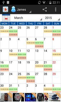 Workshifts Calendar Free 2015 apk screenshot