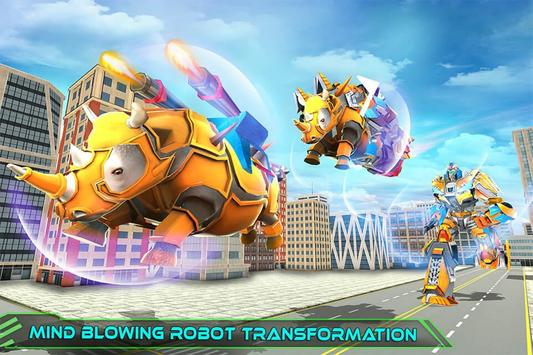 Real Robot Rhino Attack Car Transform Games poster