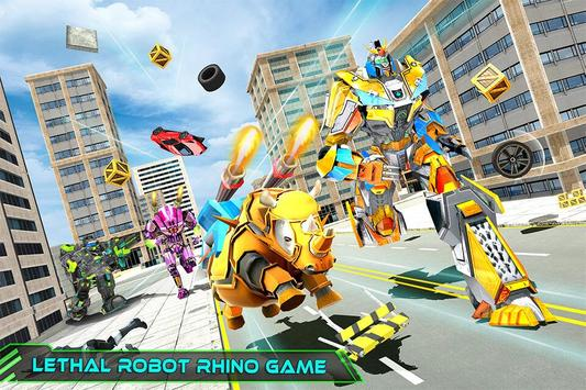 Real Robot Rhino Attack Car Transform Games 스크린샷 12