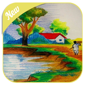 natural scenery drawing icon