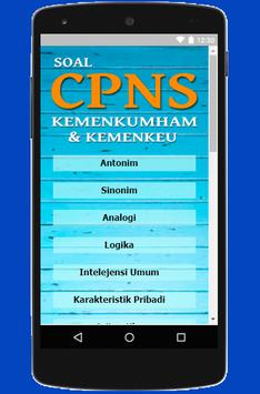 Soal CPNS 2018 - Kemenkumham Kemenkeu screenshot 1