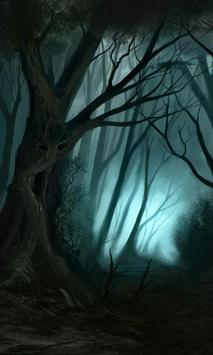 creepy forest wallpaper poster