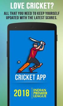 Cricket App : Live Cricket Scores & News poster