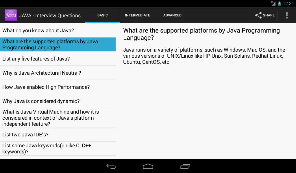 JAVA - Interview Questions for Android - APK Download