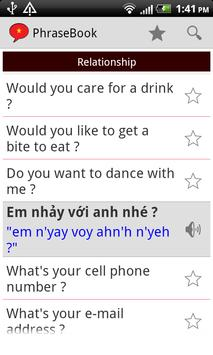 Vietnamese Phrase Book Lite apk screenshot