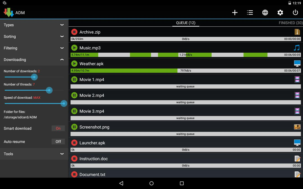 Advanced Download Manager Holo for Android - APK Download