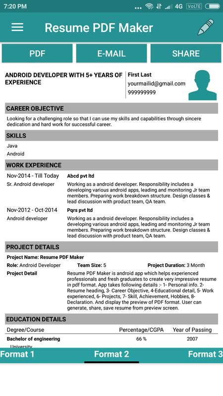 Resume PDF Maker / CV Builder APK Download - Free Business APP for ...